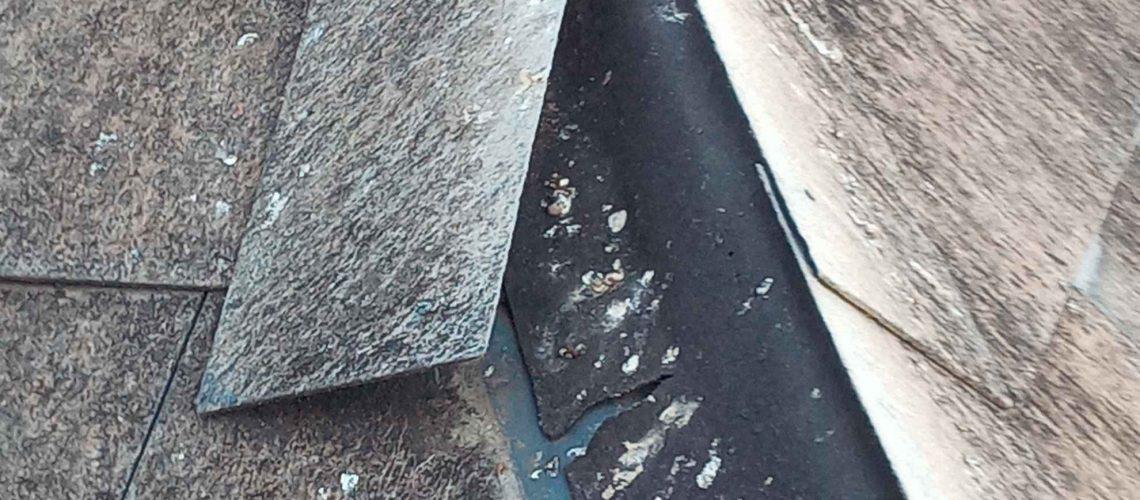 Damaged roofing tile